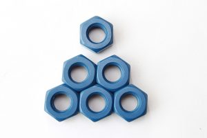 Hex nuts with blue coating