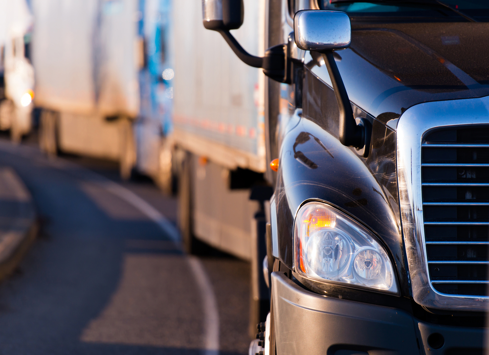 Semi-Truck Driving Down Highway
