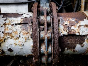 corroded metal on pipeline