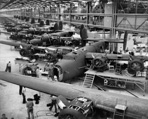 world war two airplanes under construction