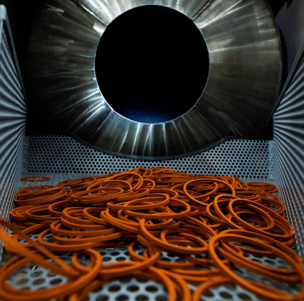 orange o rings in steel drum