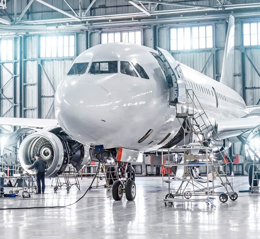 aircraft receiving maintenance