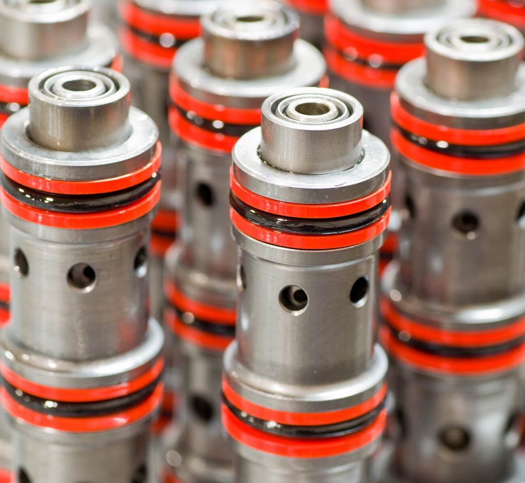 hydraulic cartridge valves with o rings close up