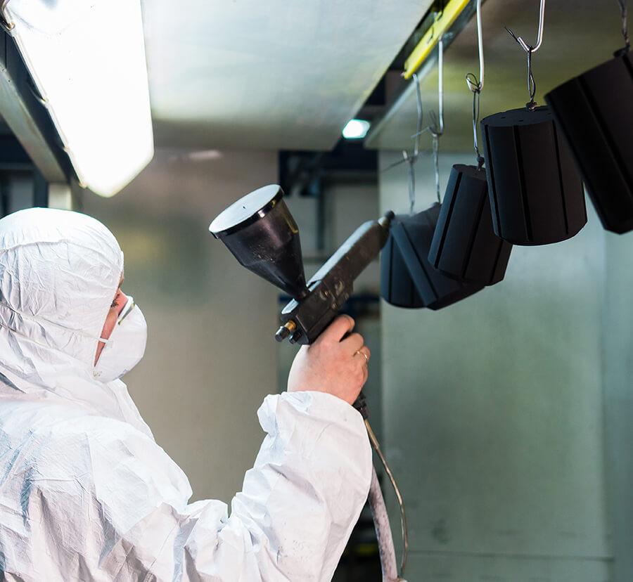 black spray coating for metal parts