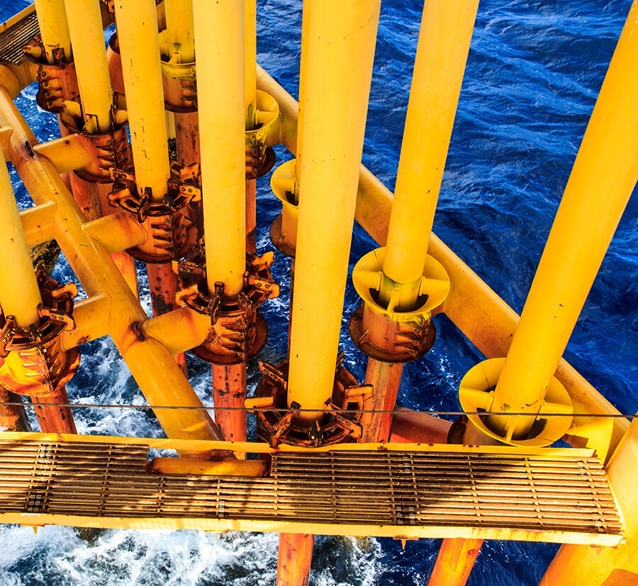 custom coatings on equipment at oil platform