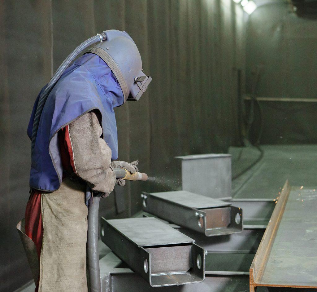 sandblasting for large steel brackets