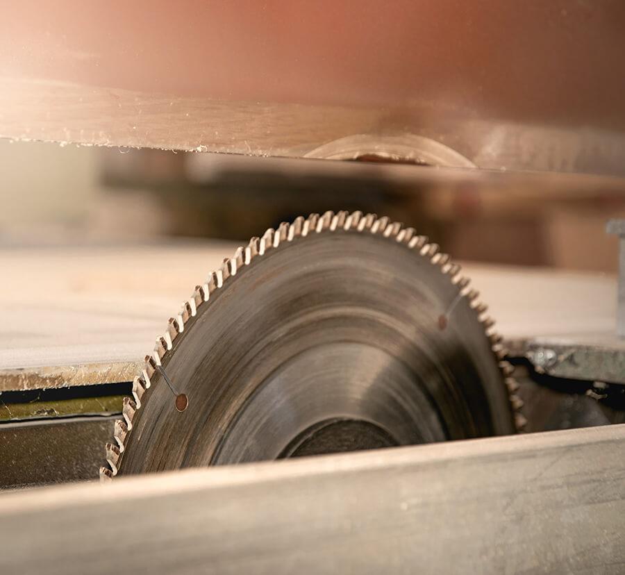 custom coating on wood saw